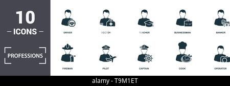 Professions icons set collection. Includes simple elements such as Policeman, Fireman, Pilot, Captain, Cook, and Interaction premium icons. - Stock Photo