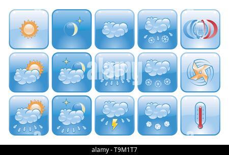 Weather Forecast Icons - Stock Photo