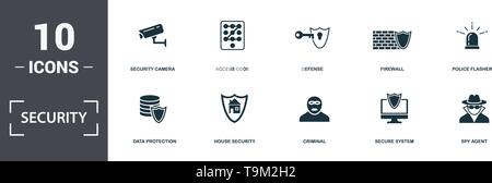 Security icons set collection. Includes simple elements such as Wifi Security, Data Protection, House Security, Criminal, Secure System, and Focus Gro - Stock Photo