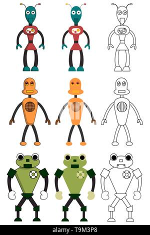 Set of robots in different style. Isolated stock vector illustration - Stock Photo