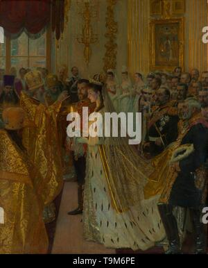 The wedding of Tsar Nicholas II and the Princess Alix of Hesse-Darmstadt on November 26, 1894. Museum: Royal Collection, London. Author: LAURITS REGNER TUXEN. - Stock Photo