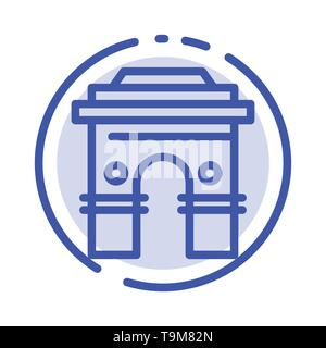 Culture, Global, Hinduism, India, Indian, Srilanka, Temple Blue Dotted Line Line Icon - Stock Photo