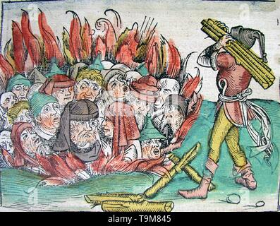 Burning of the Jews at Deggendorf in 1338 (from the Schedel's Chronicle of the World). Museum: PRIVATE COLLECTION. Author: MICHAEL WOLGEMUT. - Stock Photo