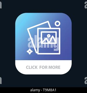 Gallery, Image, Photo Mobile App Button. Android and IOS Line Version - Stock Photo