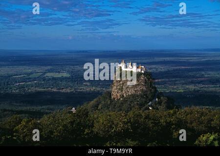 Myanmar. Taung Kalat. Buddhist monastery. Mount Popa. - Stock Photo