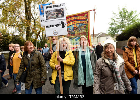 People protesting against the planned closure of the Princess Royal Hospital Accident & Emergency department in Telford - Stock Photo