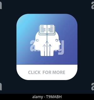 Mind, Reading, Programming, Man Mobile App Button. Android and IOS Glyph Version - Stock Photo