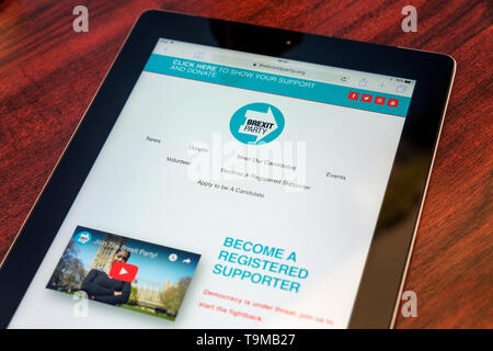 The website of the anti EU Brexit Party is pictured being viewed on an iPad during the EU election campaign - Stock Photo