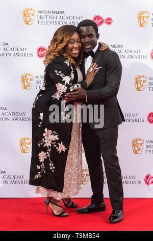 London, UK. 12th May 2019. Chizzy Akudolu (L) attends the Virgin Media British Academy Television Awards ceremony at the Royal Festival Hall. Credit: Wiktor Szymanowicz/Alamy Live News - Stock Photo