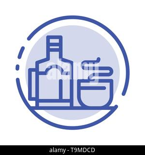 Tea, Cup, Hot, Hotel Blue Dotted Line Line Icon - Stock Photo