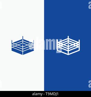 Boxing, Ring, Wrestling Line and Glyph Solid icon Blue banner Line and Glyph Solid icon Blue banner - Stock Photo