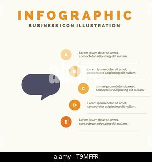 Twitter, Chat, Chatting Solid Icon Infographics 5 Steps Presentation Background