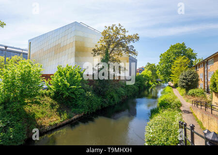 The Lightbox in Woking town centre, a gallery, museum and exhibition space civic amenity modern building on the banks of the Basingstoke Canal - Stock Photo