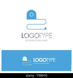 Construction, Measuring, Scale, Tape Blue Solid Logo with place for tagline - Stock Photo