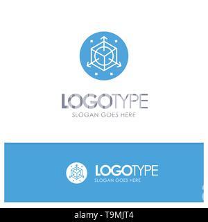 Scale, Modification, Design, 3d Blue Logo vector - Stock Photo