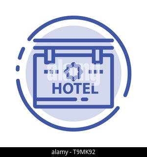 Hotel, Sign, Board, Location Blue Icon on Abstract Cloud