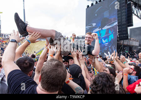May 18, 2019 - Columbus, Ohio, U.S - Fans crowd surf during Gojira at the Sonic Temple Music Festival at the MAPFRE Stadium in Columbus, Ohio (Credit Image: © Daniel DeSlover/ZUMA Wire) - Stock Photo