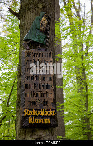 Consonance of words at entrance to the hiker trail Steckeschlääfer-Klamm, Binger forest, Bingen on the Rhine, Rhineland-Palatinate, Germany - Stock Photo
