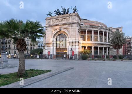 Teatro Politeama Garibaldi or Politeama Theatre in Piazza Ruggero Settimo in Palermo, Sicily at sunset. - Stock Photo