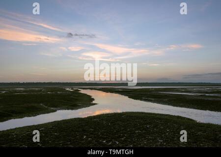 Sunrise, after the flood, Lake Ndutu, Tanzania - Stock Photo