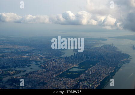 aerial view of Manhattan, New York City - Stock Photo