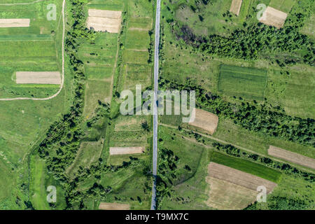 Road and forest aerial view. Drone photo. - Stock Photo