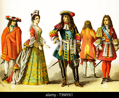 The figures represented here are French people around 1600. They are, from left to right: courtier, lady of rank, Louis XIV in 1680, courtier, courtier. The illustration dates to 1882. - Stock Photo