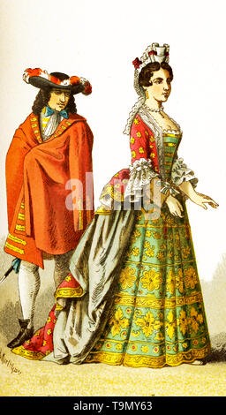The figures represented here are French people around 1600. They are, from left to right: a courtier and a lady of rank. The illustration dates to 1882. - Stock Photo