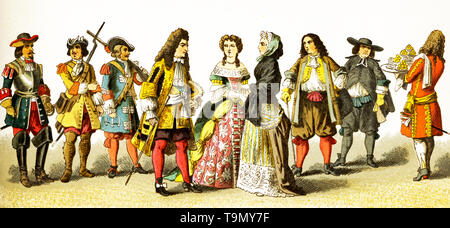 The figures represented here are French people around 1600. They are, from left to right: cuirassier, grenadier, soldier of the guards, Louis XIV in 1680, lady of rank, lady of rank en negligee, citizen, abbe, servingman. The illustration dates to 1882. - Stock Photo