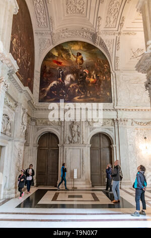 Paintings inside Royal Palace of Amsterdam in Dam Square - interior Royal Palace artwork - Dutch Palace - Palace in Amsterdam Netherlands - Stock Photo