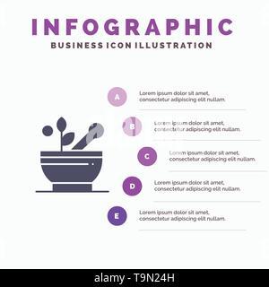 Medical, Medicine, Soup, Hospital Solid Icon Infographics 5 Steps Presentation Background - Stock Photo
