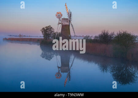 Turf Fen windmill on the River Ant, Norfolk Broads. England. Uk - Stock Photo