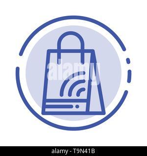 Bag, Handbag, Wifi, Shopping Blue Dotted Line Line Icon - Stock Photo