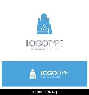 Bag, Handbag, Wifi, Shopping Blue Solid Logo with place for tagline - Stock Photo