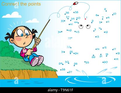 In vector illustration, a puzzle in which you need to connect the dots in order to find out who the girl caught fishing - Stock Photo