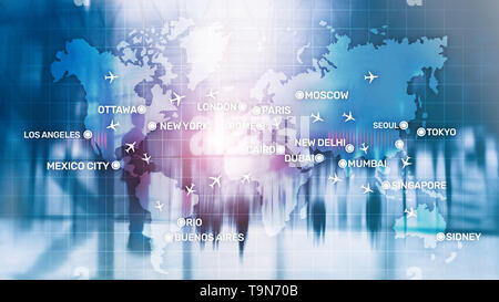 Aviation wallpaper with planes over the map with major city names. Digital map with planes around the world concept - Stock Photo