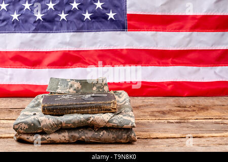 Set of military uniform and accessories. - Stock Photo
