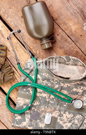 Military outfit and accessories, flat lay. - Stock Photo