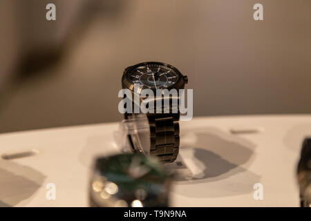 A display of luxury watches is seen in the window of a store in Vegas, Nevada, USA - Stock Photo