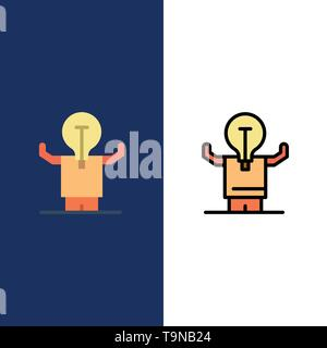 Business, Improvement, Man, Person, Potential  Icons. Flat and Line Filled Icon Set Vector Blue Background - Stock Photo