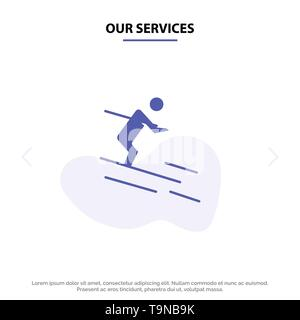 Our Services Activity, Ski, Skiing, Sportsman Solid Glyph Icon Web card Template - Stock Photo