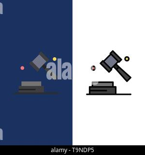 Business, Copyright, Digital, Law  Icons. Flat and Line Filled Icon Set Vector Blue Background