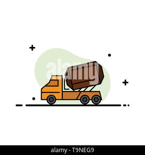 Truck, Cement, Construction, Vehicle, Roller  Business Flat Line Filled Icon Vector Banner Template - Stock Photo