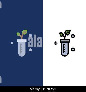 Tube, Plant, Lab, Science  Icons. Flat and Line Filled Icon Set Vector Blue Background - Stock Photo