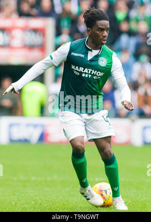 Edinburgh, UK. May 19 2019. Stephane Omeonga of Hibernian during the Ladbrokes Premiership match between Hibernian and Aberdeen at Easter Road on May 19 2019 in Edinbugh, UK. Editorial use only, licence required for commercial use. No use in Betting, games or a single club/league/player publication. Credit: Scottish Borders Media/Alamy Live News - Stock Photo