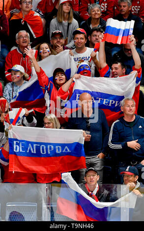 Bratislava, Slovakia. 19th May, 2019. Russian fans in action during the match between Switzerland and Russia within the 2019 IIHF World Championship in Bratislava, Slovakia, on May 19, 2019. Credit: Vit Simanek/CTK Photo/Alamy Live News - Stock Photo