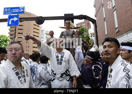 TOKYO, JAPAN - MAY 18: Participants waits as they prepare to carry the portable shrine in the street of Asakusa during 'Sanja Matsuri' on May 18, 2019 in Tokyo, Japan. A boisterous traditional mikoshi (portable shrine) is carried in the streets of Asakusa to bring goodluck, blessings and prosperity to the area and its inhabitants. (Photo: Richard Atrero de Guzman/ AFLO) - Stock Photo