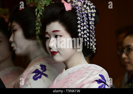 TOKYO, JAPAN - MAY 18: Maiko dancers pose for photographs during a festival 'Sanja Matsuri' on May 18, 2019 in Tokyo, Japan. A boisterous traditional mikoshi (portable shrine) is carried in the streets of Asakusa to bring good luck, blessings and prosperity to the area and its inhabitants. (Photo: Richard Atrero de Guzman/ AFLO) - Stock Photo