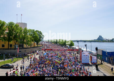 19.05.2019. RIGA, LATVIA. Crowd with people at start zone, during  TET RIGA MARATHON 2019. The only IAAF Gold Label marathon in Northern Europe. - Stock Photo
