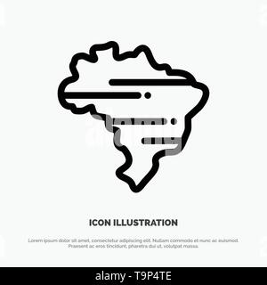 Brazil, Map, Country Vector Line Icon - Stock Photo